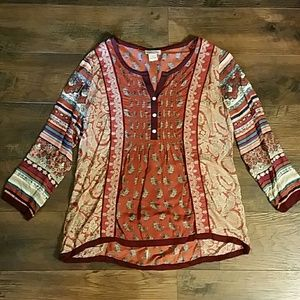 Lucky Brand | Embroidered Orange Paisley Top